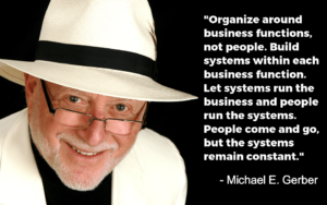 Organizearoundbusinessfunctions,notpeople.Buildsystemswithineachbusinessfunction.Letsystemsrunthebusinessandpeoplerunthesystems.Peoplecomeandgo,butthesystemsremainconstant.